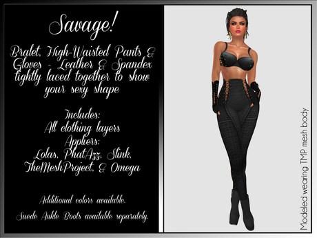 Savage! Sexy Bodysuit with Gloves - Deep Black (Lolas, PhatAzz, TMP, Slink, Omega)