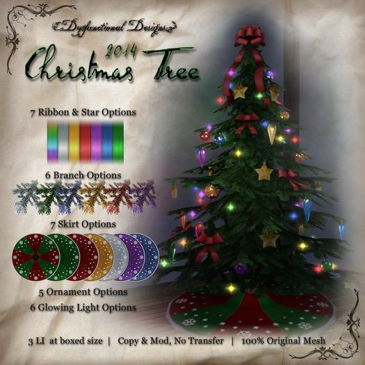 [DDD] Christmas Tree - 3 LI, Tex. Change Mix & Match Mesh Christmas Tree Low Prim Huge Texture Menu