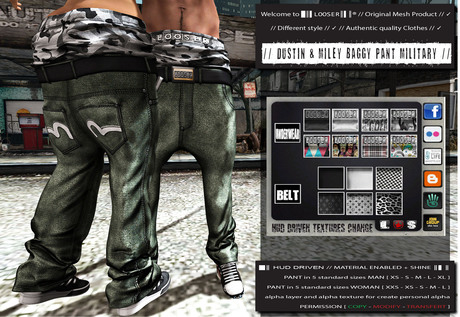 █║▌LOOSER ║▌║® // Dustin & Miley Baggy Pant MILITARY BASIC EDITION // HUD MESH // MATERIAL ENABLED & SHINE