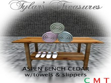 .:TT:.  ASPEN SAUNA BENCH CEDAR w/towels & slippers BOXED
