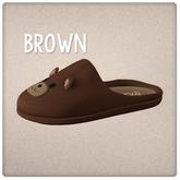 {Mango Cheeks} Teddy Slippers: Brown Bear (Slink FLAT)
