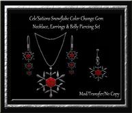 Cele'Sations ~ Snowflake Color Change Gem Necklace Earring & Belly Piercing Set