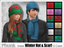 [Phunk] Unisex Winter Hat and Scarf Set (12 Colors)