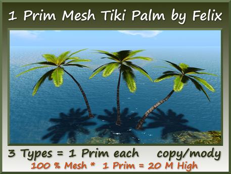1 Prim Mesh Palm Set 3 Types=20m High copy-mody