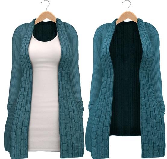 Blueberry - Babi - Belleza Venus & Slink Physique Compatible - Cardigan with Optional Dress Aqua