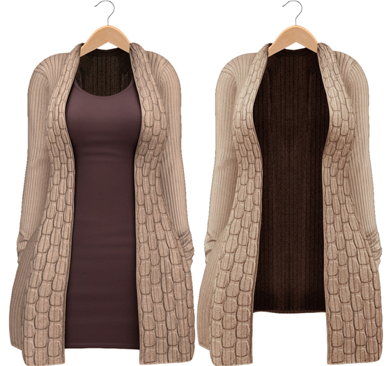 Blueberry - Babi - Belleza Venus & Slink Physique Compatible - Cardigan with Optional Dress Beige