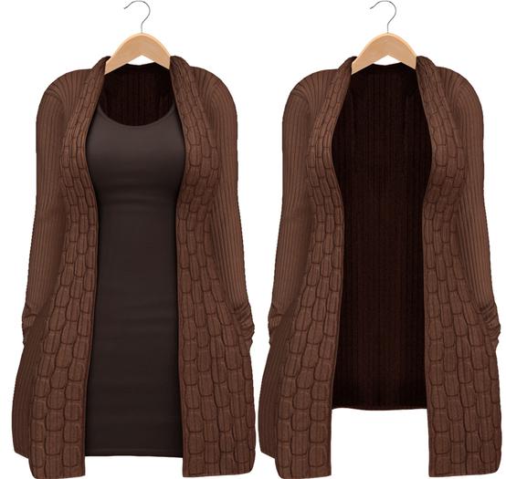 Blueberry - Babi - Belleza Venus & Slink Physique Compatible - Cardigan with Optional Dress Brown