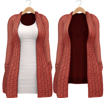 Blueberry - Babi - Belleza Venus & Slink Physique Compatible - Cardigan with Optional Dress Red