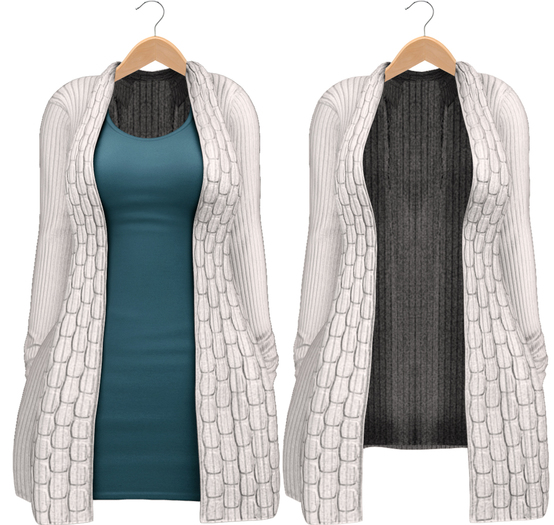 Blueberry - Babi - Belleza Venus & Slink Physique Compatible - Cardigan with Optional Dress White