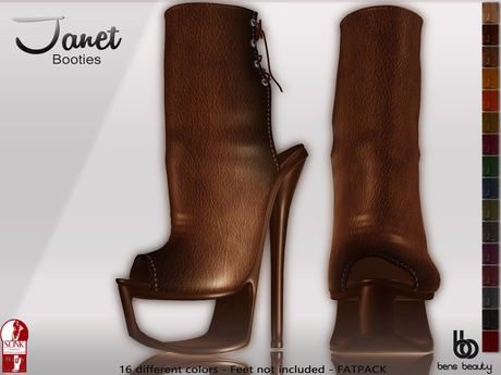 *PROMO*Bens Boutique - Janet Booties- Slink High Feet - Fatpack