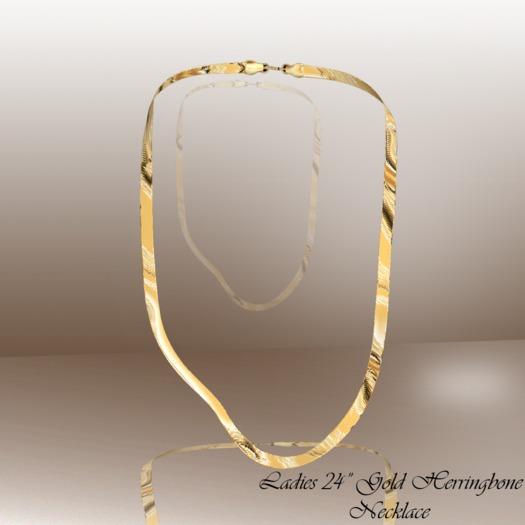 "Ladies 24"" Gold Herringbone"