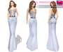 %50SUMMERSALE CLASSIC RIGGED MESH Deep Cleavage Strapless Mermaid Skirt Dress Night Gown with Bowtie Belt - 3 TEXTURES