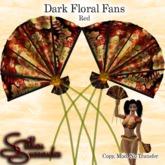 *Silken Surrender* Fans, Dark Floral, Red