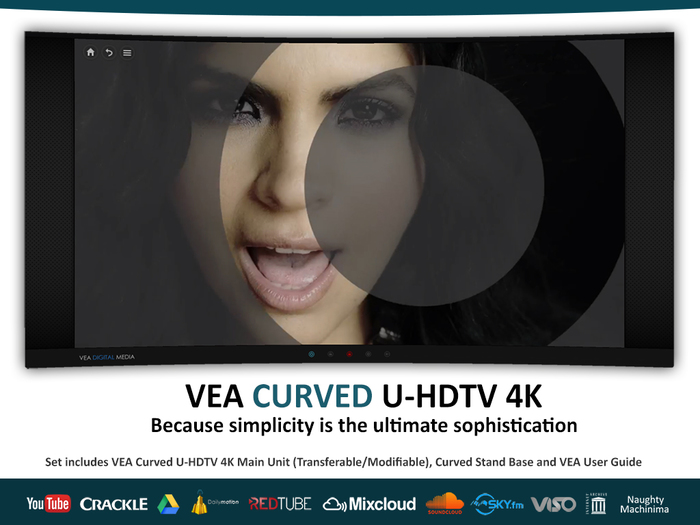 VEA CURVED 4K Media Video Television Movies Youtube Shoutcast Radio
