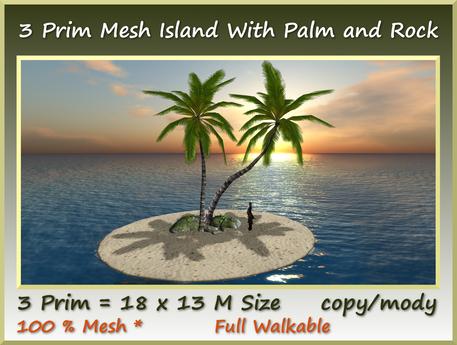 Mesh Palms With Rock Island 3 Prim=18x13m Size mody/copy