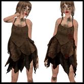 CHAVSHOP Ragged Layers Dress Brown