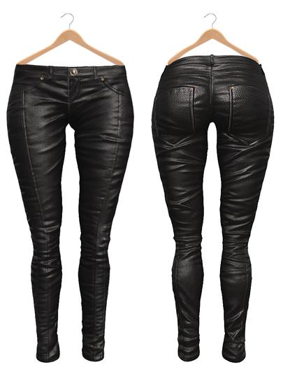 Blueberry Ross - Maitreya Lara & Belleza Venus & Slink Physique - Leather Pants (Boots Compatible) Black