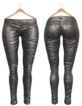 Blueberry Ross - Maitreya Lara & Belleza Venus & Slink Physique - Leather Pants (Boots Compatible) Silver