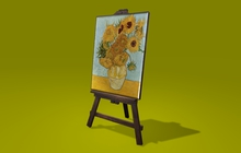 """0.5 LI """"Easel w Picture Frame"""" mesh, any texture, scripted for ANY picture (mod, copy)"""
