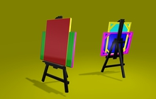 """0.5 LI full perm """"Easel w Picture Frame"""" mesh, any texture"""