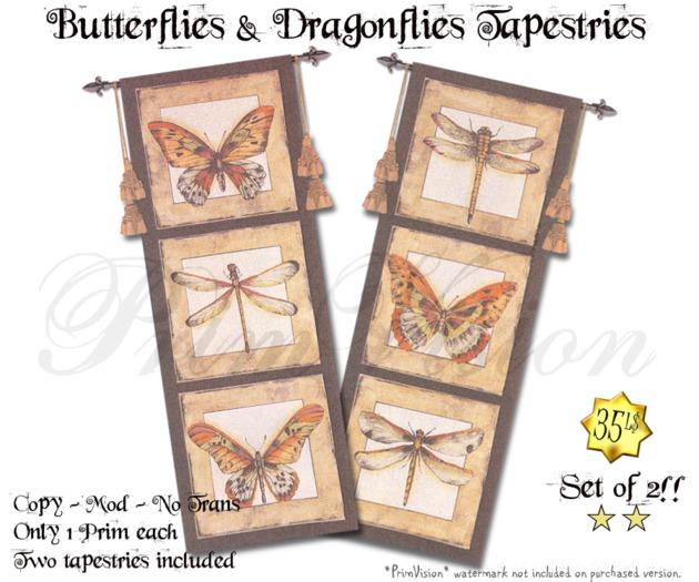 *PV* Butterflies & Dragonflies Tapestries - SET OF 2!