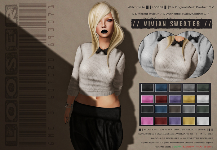 SPECIAL PRICE SALE  █║▌LOOSER ║▌║® // Vivian Sweater CLASSIC EDITION // HUD MESH // MATERIAL ENABLED & SHINE