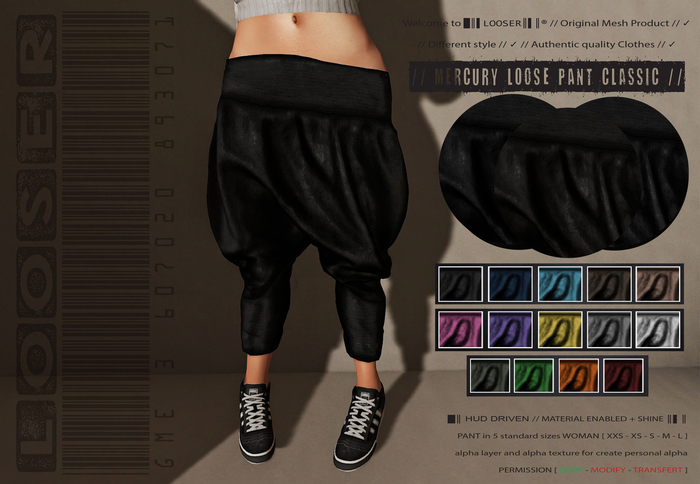 SPECIAL PRICE SALE  █║▌LOOSER ║▌║® // Mercury Pant CLASSIC EDITION // HUD MESH // MATERIAL ENABLED & SHINE