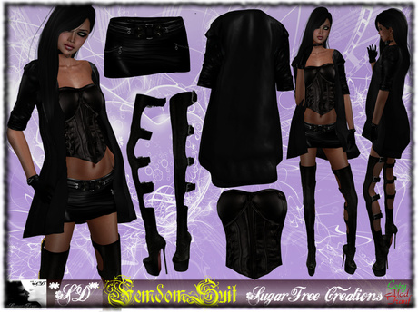 **SD** - FemMdom - ( Mesh Outfit ) High Heels Boots - Black
