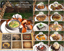 Aphrodite African placemats with African foods & drinks! (box)