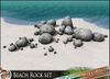 HeadHunter's Island - Beach Reef Rock set - 17 types of stones - dark & light textures - MESH