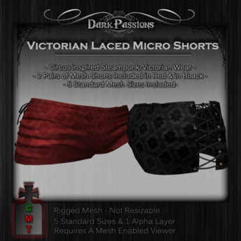 Dark Passions - Victorian Lace Micro Shorts - 2 Pair - Red & Black - 5 Standard Sizes Mesh