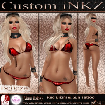 Custom iNKZ - Maui Babe Red Bikini & Sun Tattoo & Appliers
