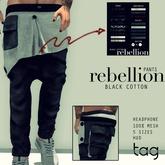 tag. pants rebellion [black cotton]