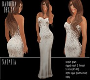 BD-Nadalia Ivory Gown satin sequin mesh dress