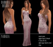 BD-Nadalia Rose Gown satin sequin mesh dress