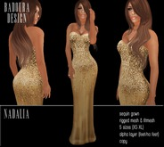 BD-Nadalia Gold Gown satin sequin mesh dress