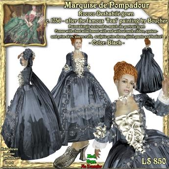 Wunderlichs Marquise de Pompadour Black Rococo gown