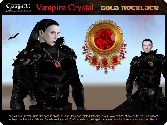 Gaagii - Vampire Crystal - Gold Necklace  (unisex)