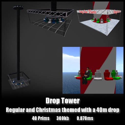 Drop Tower *0.070ms* Themed freefall with a 40m drop