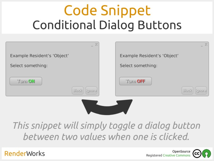 RenderWorks Code Snippet - Conditional Dialog Buttons - Create Virtual, Visible Toggles On A Dialog Box