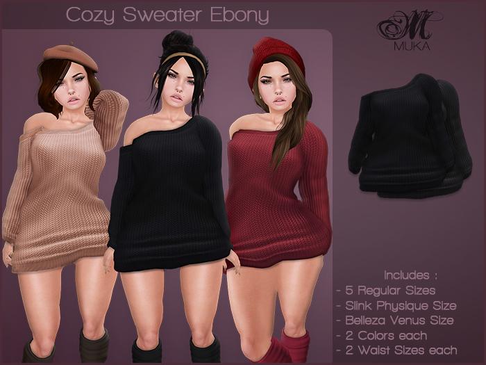 *MUKA* Cozy Sweater Ebony (Belleza Venus & Slink Physique)