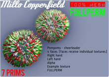 Millo Copperfield - Pompoms Unrigged Mesh - cheerleader, Right and Left hand, Alpha, 5 texture faces, FULLPERM