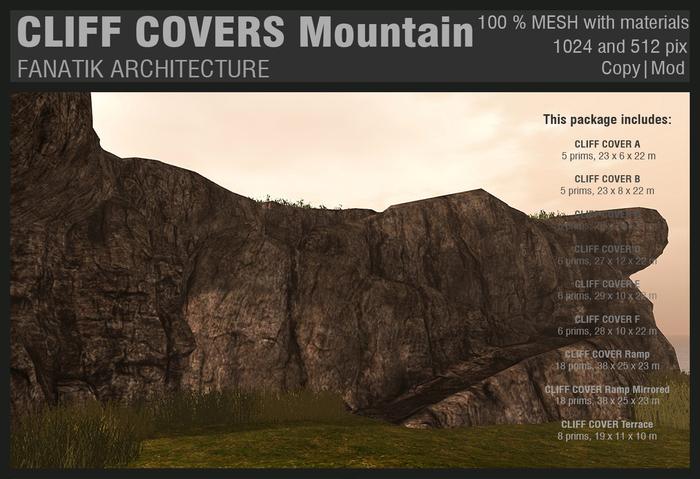 :Fanatik Architecture: CLIFF COVERS Mountain - mesh sim building / landscaping kit - rock formation building prefab
