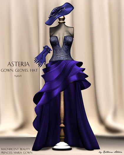 Asteria Creations - Princess Maria Gown Set - Navy