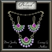 Beloved Jewelry : Demi Jewelry Set Gold with Amethyst & Emeralds (2 Piece Jewelry Set-Necklace and Dangle Earrings)