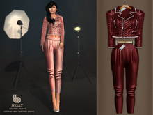 Bens Boutique - Nelly Leather Jacket & Waisted Pants Burgundy