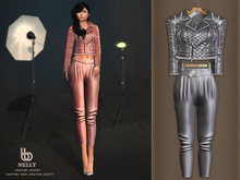 Bens Boutique - Nelly Leather Jacket & Waisted Pants Gray
