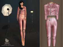 Bens Boutique - Nelly Leather Jacket & Waisted Pants Lpink