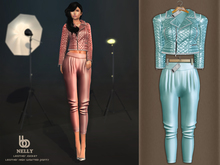 Bens Boutique - Nelly Leather Jacket & Waisted Pants Lblue