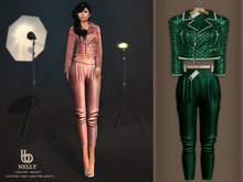 Bens Boutique - Nelly Leather Jacket & Waisted Pants Green